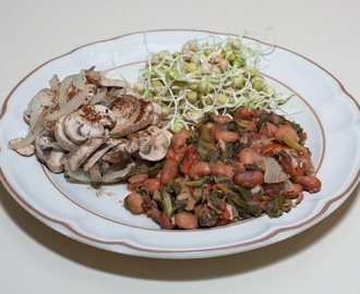 Cranberry Beans with Turnip Greens and Roasted Diced Tomatoes, Mushrooms, Sprouted Green Peas (No Added Fat)