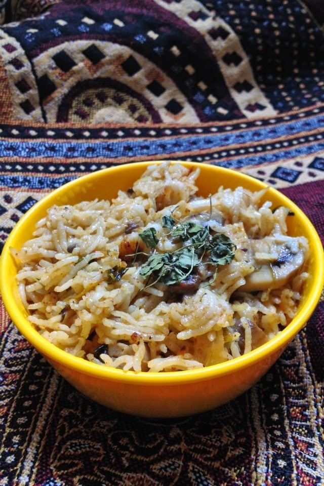 Mushroom Pulao recipe - how to make mushroom pulao?- Mushroom recipes