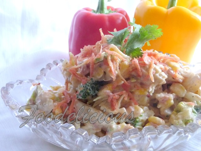 Mixed Veg Salad in a Spicy Yogurt & Mayo Dressing