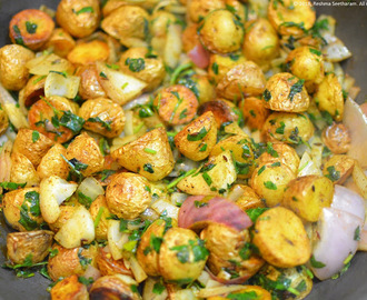 Baby potato and fenugreek/methi stir fry