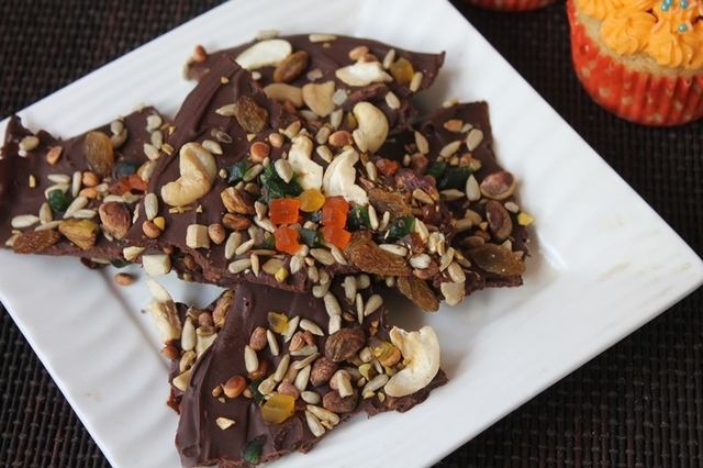 Easy Chocolate Bark Recipe - Chocolate Bark with Nuts & Dried Fruits Toppings