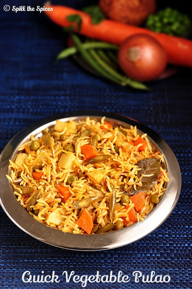 Quick Vegetable Pulao In Pressure Cooker