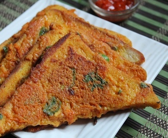 Bread Besan Toast Recipe - Vegetable Besan French Toast Recipe