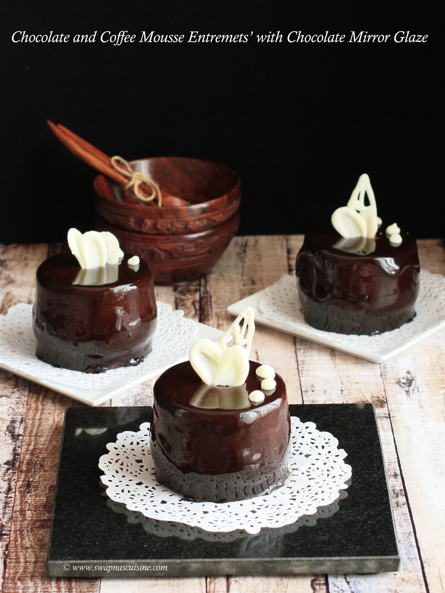 Chocolate and Coffee Mousse Entremets' with Chocolate Mirror Glaze