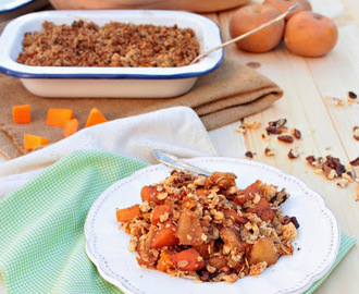 Crumble de abóbora e maçã (vegan, sem açúcar, sem glúten). Pumpkin and apple crumble (ven, gluten and sugar free)