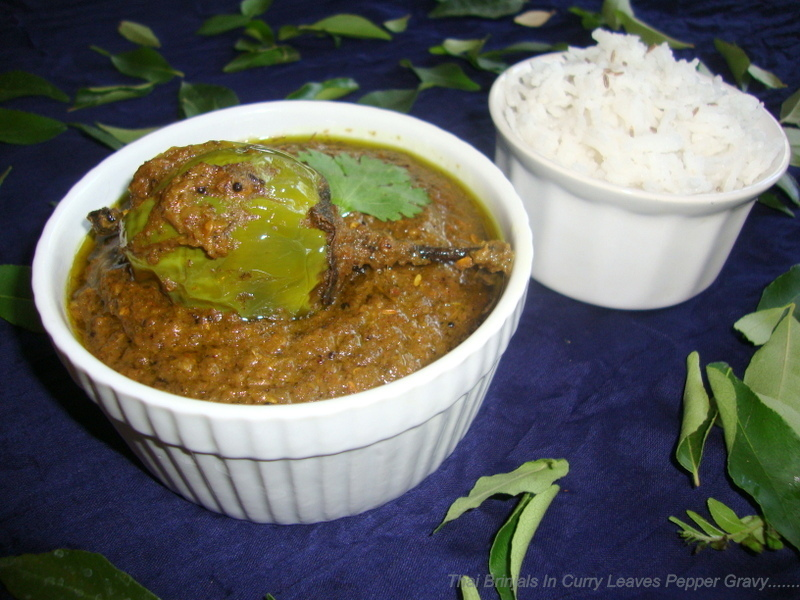 Brinjals In Curry Leaf Gravy Recipe / Thai Brinjals In Curry Leaf Pepper Gravy Recipe