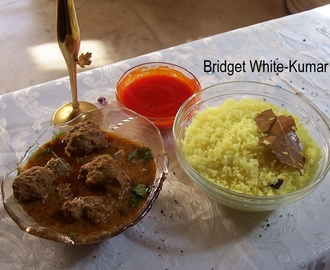 ANGLO-INDIAN YELLOW COCONUT RICE, MINCE BALL CURRY AND DEVIL CHUTNEY - OUR WEEKEND SPECIAL - CHILDHOOD MEMORIES