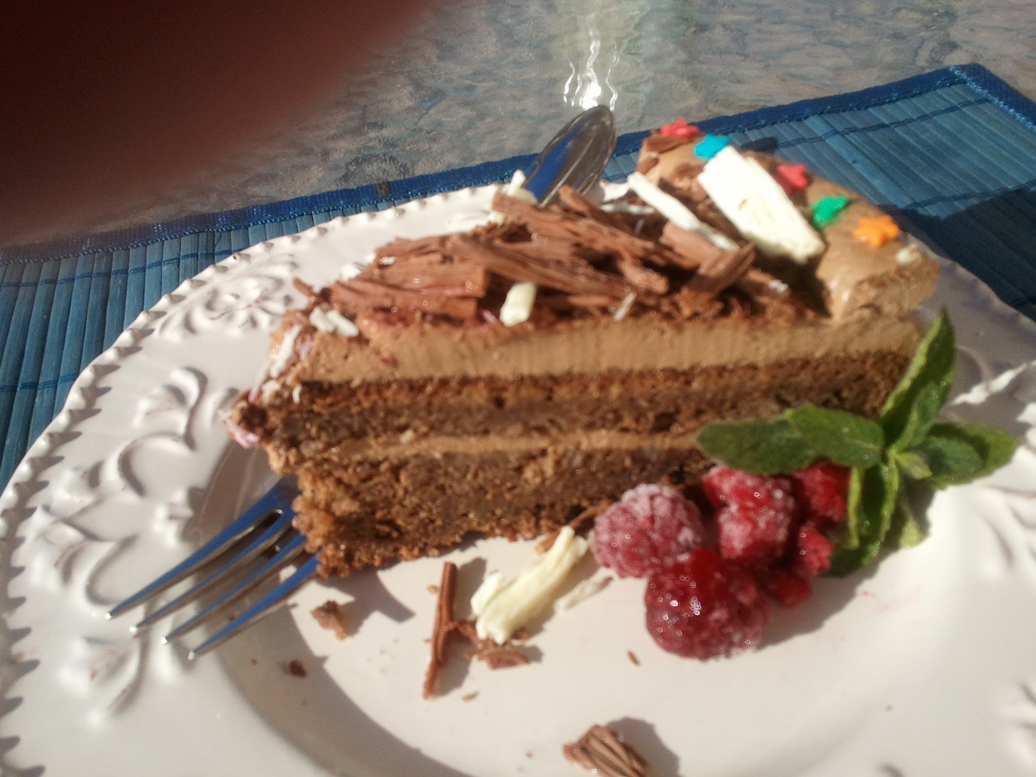 Chocolate and almonds Mousse Cake (Twins birthday)