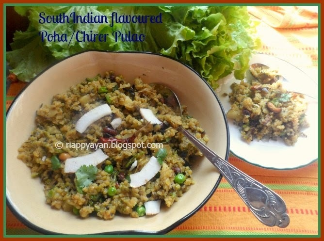 South Indian flavoured Beaten rice Pilaf/Chirer Pulao