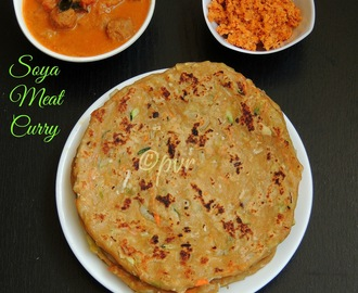 Vegetable Pol Roti, Sambal & Soya Meat Curry - A Srilankan Breakfast