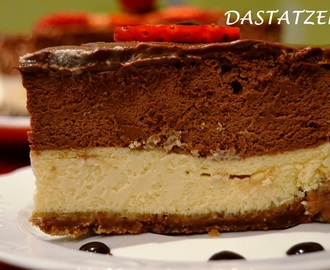 CHEESECAKE CON MOUSSE Y GANACHE DE CHOCOLATE