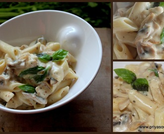 Penne Pasta with Chicken & Mushroom in Homemade White sauce