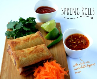 Spring Rolls  with a sweet chilli dipping sauce