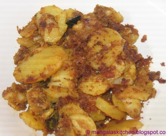 Spicy Potato Roast with blended Masalas - Urullai Masala Varuval - My Mom's Recipe