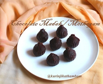 Chocolate Modak / Motak / Mothagam Kozhukattai with homemade chocolate sauce