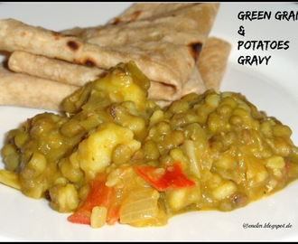 Green gram and potatoes gravy/ Chilkewali moong aur aloo ki sabji