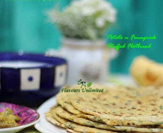 Alu Methi Paratha or Potato and Fenugreek Stuffed Flatbread Recipe