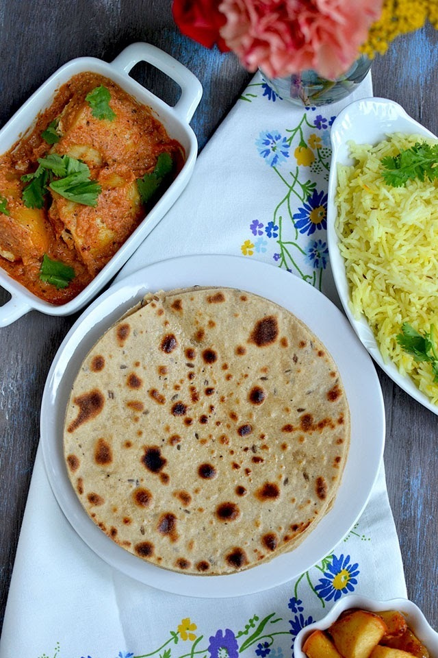 Kashmiri Mini Thali - Roti, Dum Aloo, Apple Chutney and Saffron Rice
