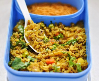 Kid's Lunch Box Ideas| Thin Red Beaten Rice/Poha With Veggies | Step Wise | Vegan