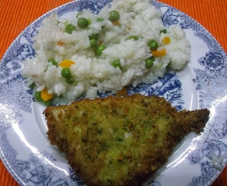 Filetes de pescada com arroz