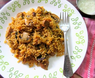 Mushroom Soya Chunks Biryani ~ Step by Step Pictures