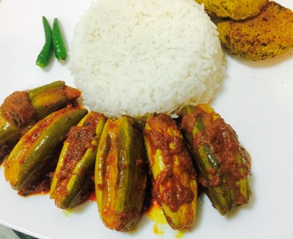 CHINGRI DIYE POTOLER DORMA / PRAWN STUFFED POINTED GOURDS