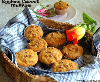 Eggless Whole Wheat Carrot Muffins