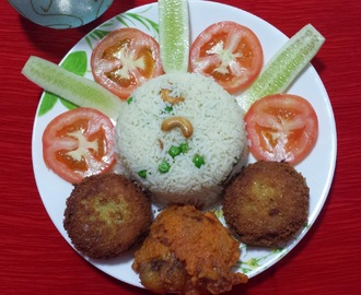 FISH CUTLET N FRIED CHICKEN WITH BUTTERED RICE