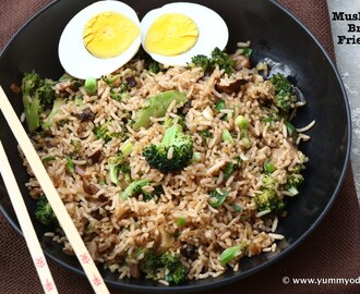 Mushroom Broccoli Fried Rice ~ Lunchbox Recipes