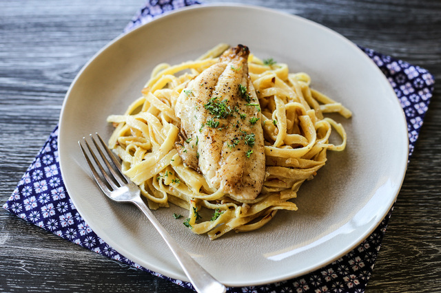 Pan Fried Fish and Saffron Cream Pasta
