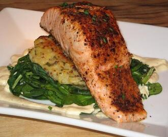Seared Salmon on Potato Cake, Wilted Spinach W/ Dijon Sauce