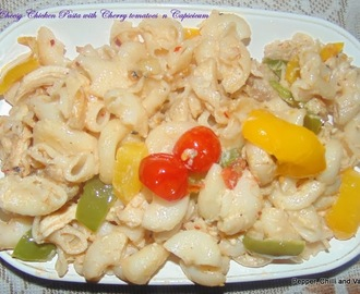 Cheesy Chicken Pasta with Cherry Tomatoes n Capsicum