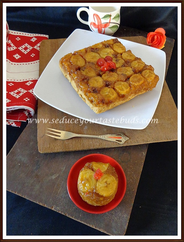 Eggless Whole Wheat Jaggery Banana Upside Down Cake