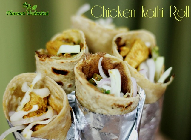 Chicken Kathi Roll with Whole Wheat Lacha Paratha