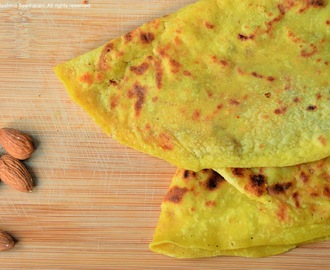 Almond obbattu/holige/puran poli - almond stuffed sweet bread