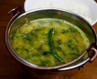 Spinach masoor dal (red lentils)