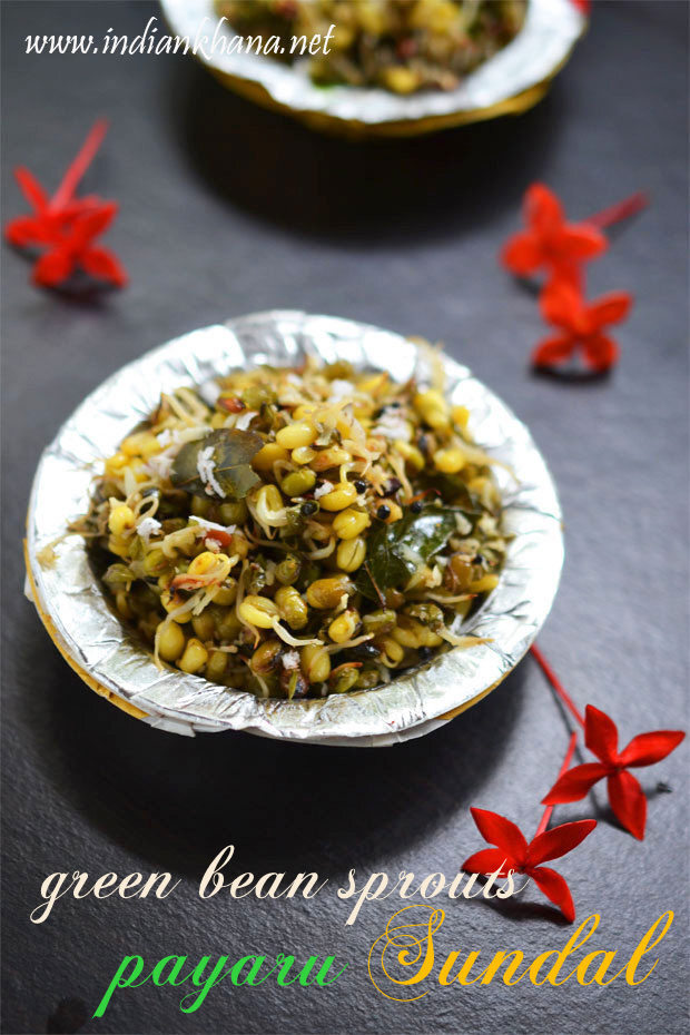 Sprouted Green Gram Sundal | Paasi Payaru Sundal | Navratri Sundal Recipes