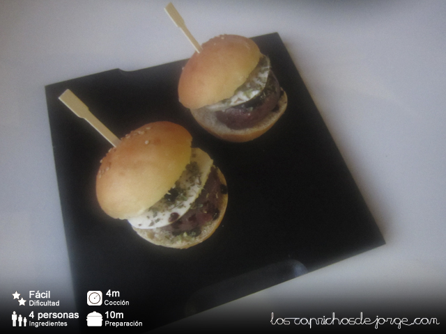 Mini Hamburguesa de Buey con Queso Mozzarella