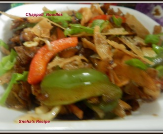 Chapatti  Noodles -  Chinese style - A quick breakfast snack