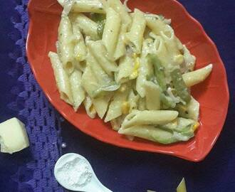 White Sauce Pasta Recipe, Penne Pasta in White Sauce Recipe