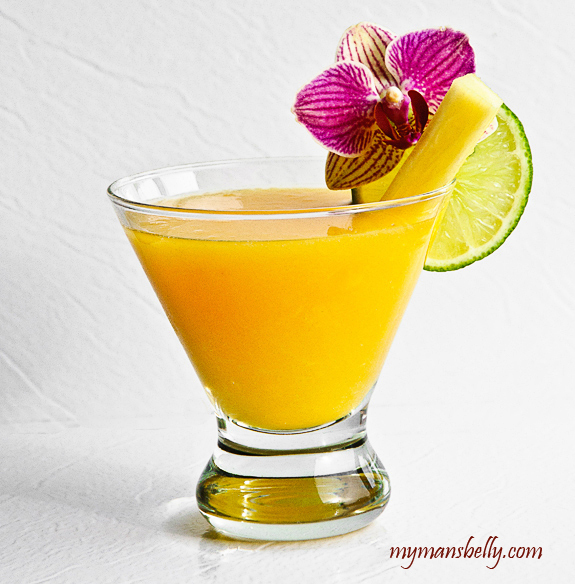 Fresh Margarita Recipe with Tropical Fruits of Pineapple and Mango