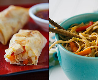Baked Spring Rolls and Low-Fat Lo Mein