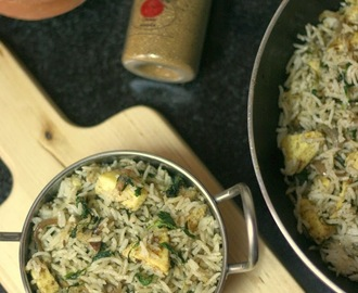 Methi Paneer Pulav | Fenugreek Leaves and Cottage Cheese Pilaf