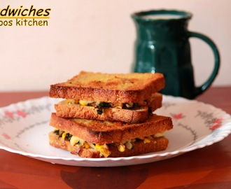 mushroom spinach and corn sandwich / sandwich recipe / easy lunchbox recipe