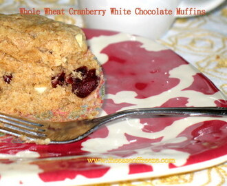 Whole Wheat Cranberry White Chocolate Muffins