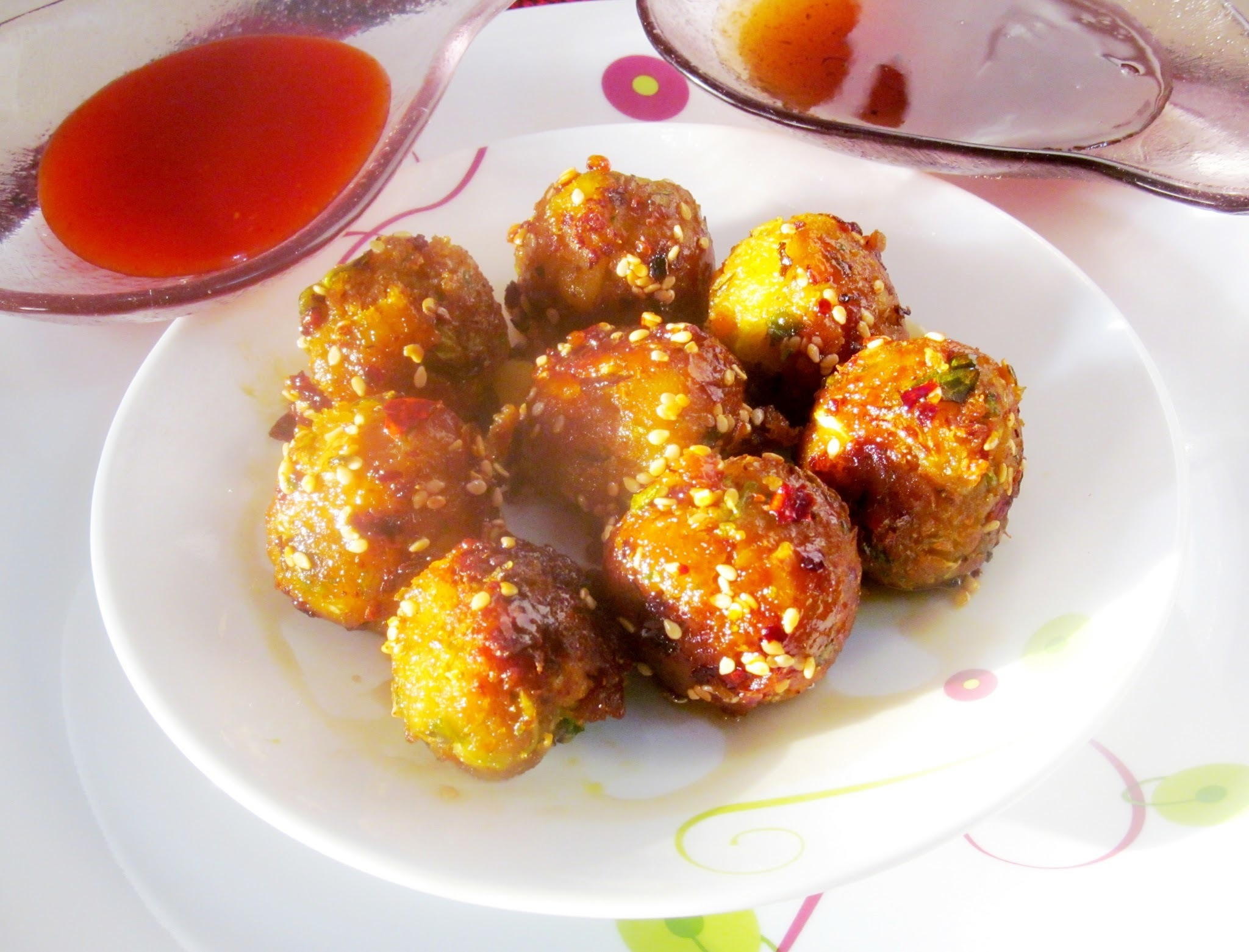 Honey coated vegetable balls