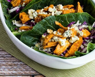 Slow Cooker Buffalo Chicken Low-Carb Collards Wraps with Blue Cheese Coleslaw
