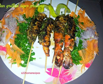 Pan grilled tiger prawns with green paste