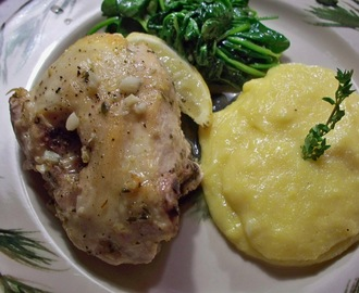 """How easy is that?""  LEMON CHICKEN WITH CREAMY PARMESAN POLENTA"