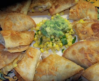 CHICKEN  AND CORN QUESADILLAS WITH GUACAMOLE